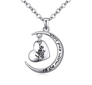 European Style Boutique Heart Moon To the Moon and Back I Love You Necklace