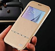 Echtleder Fensteransicht + Metallrahmen Fall für Samsung-Galaxie s6 intelligente Antwort intelligente Abdeckung für Galaxie s6
