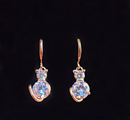 Women's Fashion Gold Filled Cat Shaped CZ Stone Dangle Earring