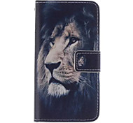 Printed Inside And Outside Lion Pattern PU Leather Case with Stand for Samsung Galaxy S5 MINI