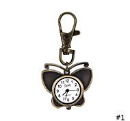 Newest Design Retro Style Butterfly Pendant Necklace Pocket Watch Quartz Key Ring Watch  For Men Women