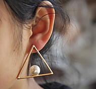 Summer New! Copper Casting Geometric Triangle Shape Pearl Punk Style Drop Earrings