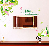 Natural Greenish Lily Flower PVC Wall Sticker Wall Decals