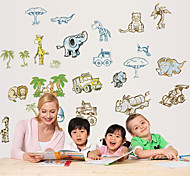 Cartoon Animals and Vehicle PVC Wall Sticker Wall Decals