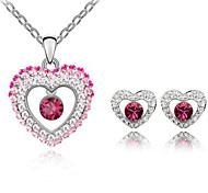 Z&X® Alloy Rhinestone Heart Shaped Jewelry Set Party/Daily 1set(Including Necklaces/Earrings)