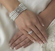 Vintage Pearls & Diamond Wedding Silver Bracelet For Women Lades
