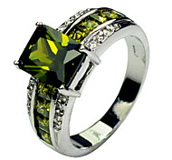 Size 10 High Quality Women Green Sapphire Rings 10KT White Gold Filled Ring
