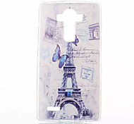 Blue Butterfly Tower Pattern Slim TPU Material Phone Case for LG G4