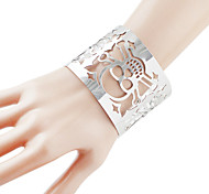 Wholesale Alloy Silver Plated Skull Head Hollow Out Wide Cuff Bracelet