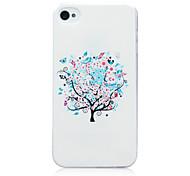 Patrón de árboles de blanco TPU cubierta trasera suave para el iphone 4 / 4s