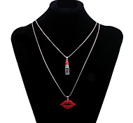 Fashion Women's Long Chain Necklace with Siam Rhinestone Red Lip and Lipstick Pendant
