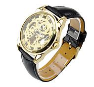 Self-Wind Pierced Mechanical Leather Silver Gold Men's Wrist Watch Waterproof Male Casual