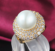 Z&X® 18k Gold Fashion Pearl/Zircon Statement Rings Party/Daily