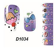 Fashion Bow Ice Cream Nail Art Glitter Sticker