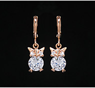 Women's Fashion Gold Filled Owl Shaped CZ Stone Dangle Earring