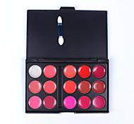 Berufs 15 Farblippenglanzverfassungspalette nachhaltig Feuchtigkeit wasserdicht nude Farbe Lippenglanz-Platte mit Schwamm Pinsel