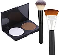 Pro Party 2 Colors Face Bronzing Powder Makeup Palette + 2Powder Brush
