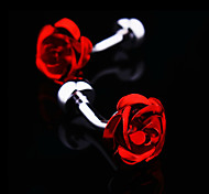 Fashion Copper Men Gift Jewelry Silver Plated Red Rose Flower Shirt Button Cufflinks(1Pair)