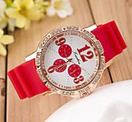 alunos das mulheres do movimento de moda relógio de diamantes olho quartzo mão catenária silicone terceiro (cores sortidas)