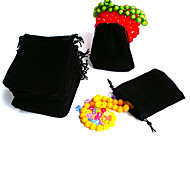 Beadia 50Pcs   Velvet Pouch Wedding Gift Bag 7x9cm Black Color Drawstring Jewelry Packaging
