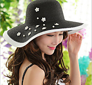 Women Vintage/Casual Summer Foldable Travelling Linen/Straw Floppy Sun Hat