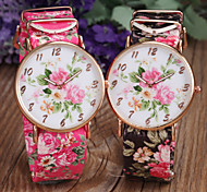 Lady's Flower Pattern PU Strap Slim Case Quartz Wristwatch