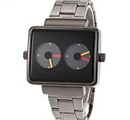 Dual Time montre-bracelet la bande cadran affichage carré noir en acier de quartz des hommes
