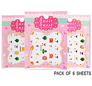 Pack of 6 Sheets 3D Nail Decals Nail sticker Animals The Cute Sheep QJ-3D-615-617