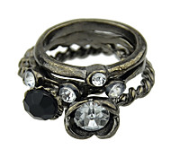 Vintage Style Black Ring Set