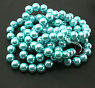 Beadia 2 Str(approx 230pcs) Glass Beads 8mm Round Imitation Pearl Beads Turquoise Color DIY Spacer Loose Beads