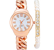 dames de luxe rose rétro or rome mot diamant montre alliage de bracelet de bracelet à quartz de bande