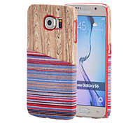Magic Spider®Baby Blue National Wind Textile Coated Wood Pattern PC Case with Screen Protector for Samsung Galaxy S6