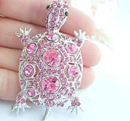 Women Accessories Silver-tone Pink Rhinestone Crystal Turtle Tortoise Brooch Art Deco Crystal Brooch