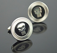 Toonykelly® Fashion Silver Plated Skull Skeleton Handsome Shirt Cufflink Button(1 Pair)