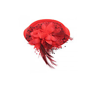 Red Hair Clip Mini Top Cloth Flower Hat Fascinator Cocktail Party Women