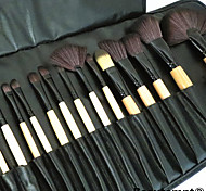 24PCS Burlywood Professional Wood Handle Makeup Brush Set with Black Leather Case