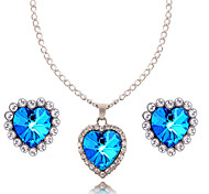 HUALUO®Sapphire Diamond Love Earrings Necklace Set