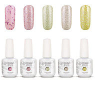 Gelpolish Nail Art Soak Off UV Nail Gel Polish Color Gel Manicure Kit 5 Colors Set S109