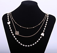 Cute Women's White Painting Flower Long Necklace with Butterfly