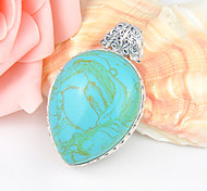 Drop Fire Antique Blue Turquoise Gem 925 Silver Pendants for Necklaces For Wedding Party Daily Casual Holiday Gift 1pc