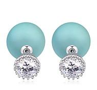 Hot Sale 2015 Big Flower Shaped Zircon Crystal Pearl Earring Double Sided Pearl Earring Cheap Pearl Earring For Women