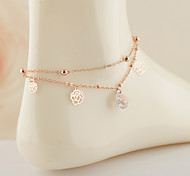 Fashion Bilayer  Hollow Rose Anklet Christmas Gifts