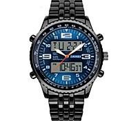 SKMEI® Men's Military Design Sport Watch Black Steel Analog-Digital/Calendar/Chronograph/Alarm Cool Watch Unique Watch Fashion Watch