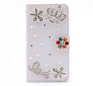 crownlove diamante hecho a mano de la PU cuero caso de cuerpo completo con pie de apoyo para el Samsung Galaxy Note 2/3/4/5