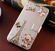 New Fashion 3D Flower Bling Diamond Flip Cover PU Leather Case Holster For Samsung Galaxy A5 (Assorted Color)