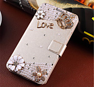 New Fashion 3D Flower Bling Diamond Flip Cover PU Leather Case Holster For Samsung Galaxy S6 (Assorted Color)