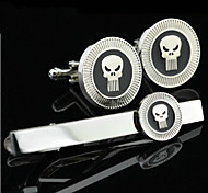 Toonykelly® Fashion Silver Skull Skeleton Handsome Shirt Tie Clips Cufflink Jewelry Set(1 Set)