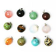 beadia 24pcs gemischte Farben natürlicher Edelstein-Charme-Anhänger Perlen 14mm Runde Form Stein fit hängende Halsketten