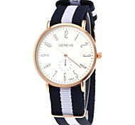 Unisex Casual Fabric Strap Gold Case Quartz Wrist Watch Cool Watch Unique Watch Fashion Watch