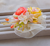 Fashion Watermelon Red And Light Yellow Color Flower Wedding Or Party Hair Clip B0747XGH